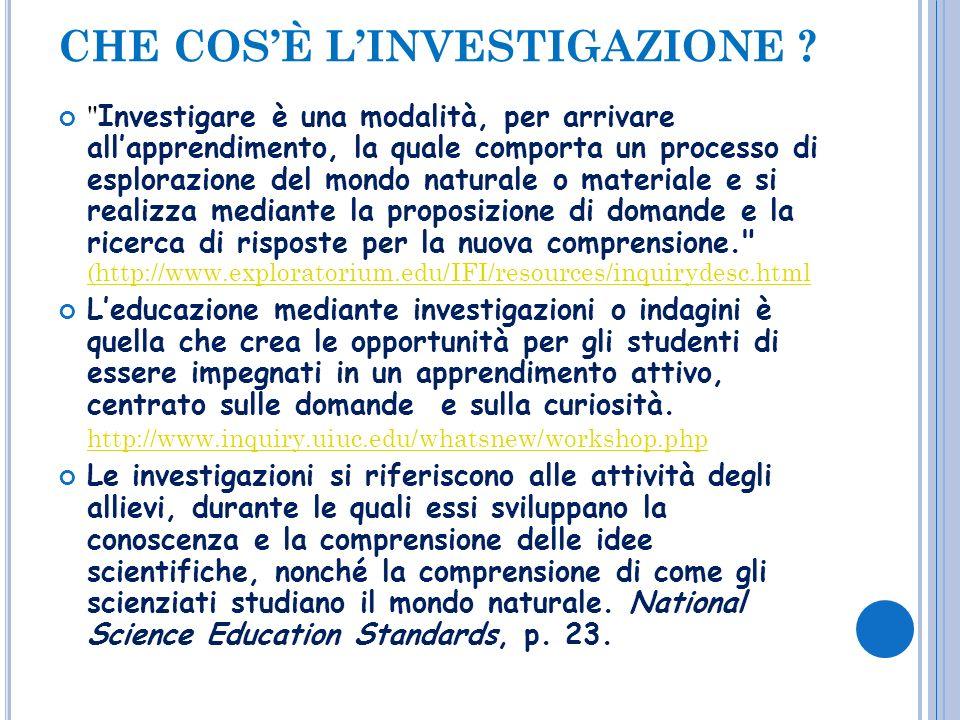 Linvestigazione è un processo attivo in cui lo studente cerca una risposta alle domande, attraverso la raccolta e lanalisi attenta dei dati sperimentali.