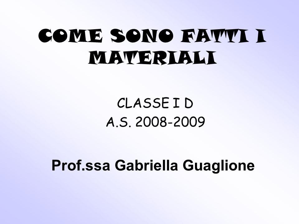 COME SONO FATTI I MATERIALI CLASSE I D A.S. 2008-2009 Prof.ssa Gabriella Guaglione