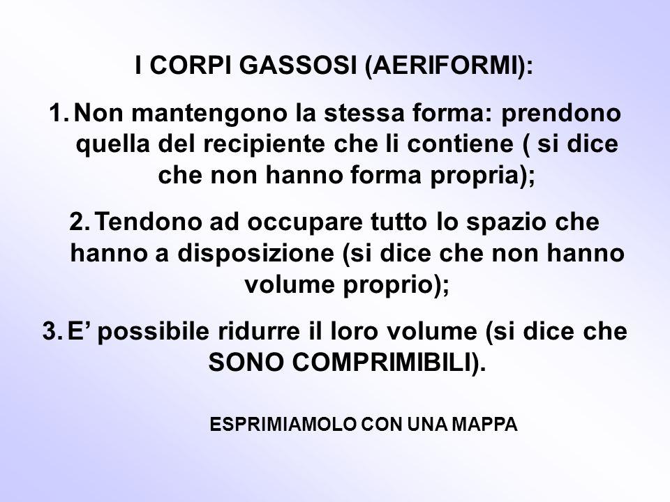I CORPI GASSOSI (AERIFORMI): 1.Non mantengono la stessa forma: prendono quella del recipiente che li contiene ( si dice che non hanno forma propria);