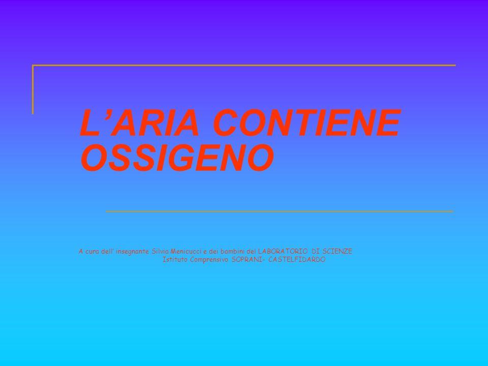 LARIA CONTIENE OSSIGENO A cura dell insegnante Silvia Menicucci e dei bambini del LABORATORIO DI SCIENZE Istituto Comprensivo SOPRANI- CASTELFIDARDO