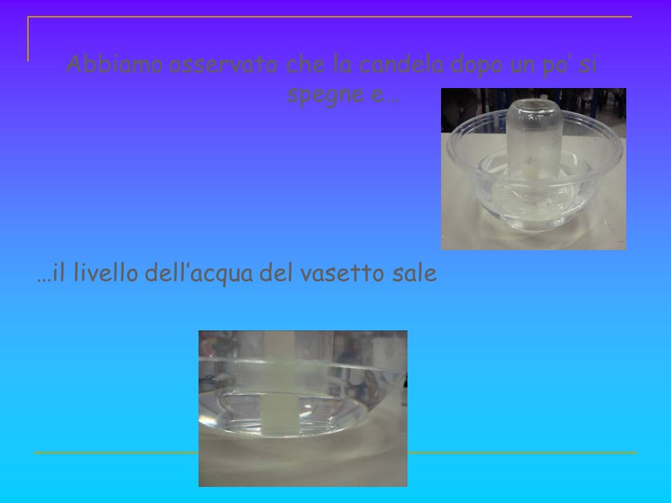 Conclusione La candela dopo un po si spegne perché consuma lossigeno presente nellaria del vasetto, infatti la combustione brucia lossigeno.