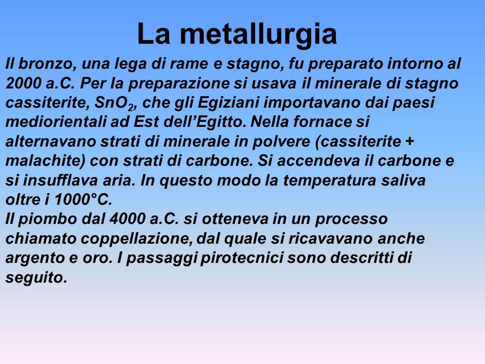 La metallurgia Il bronzo, una lega di rame e stagno, fu preparato intorno al 2000 a.C. Per la preparazione si usava il minerale di stagno cassiterite,