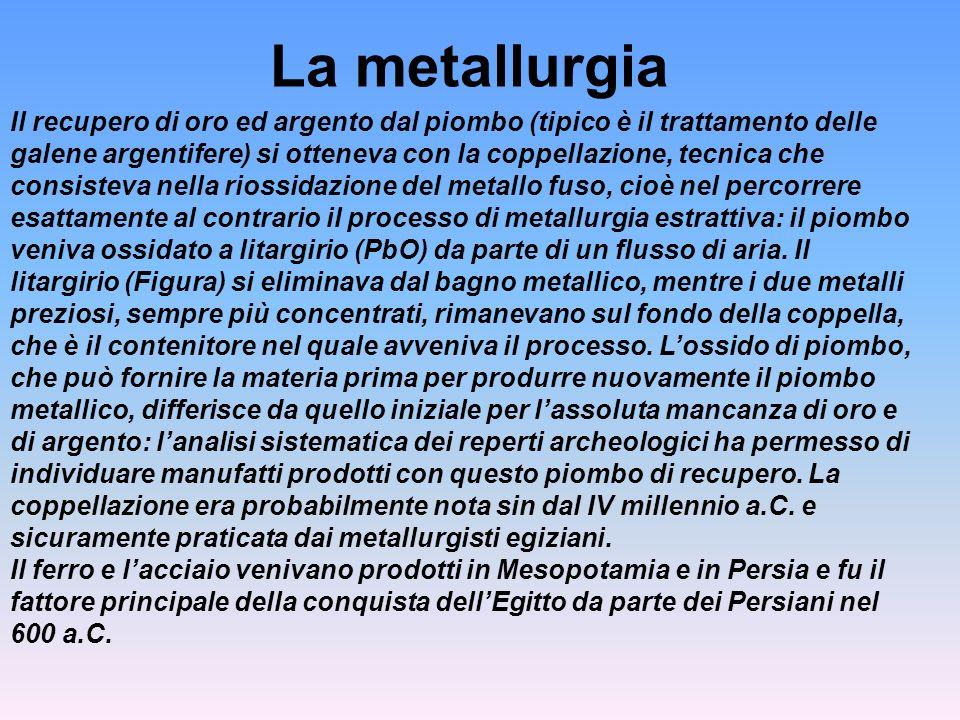 La metallurgia Il recupero di oro ed argento dal piombo (tipico è il trattamento delle galene argentifere) si otteneva con la coppellazione, tecnica c