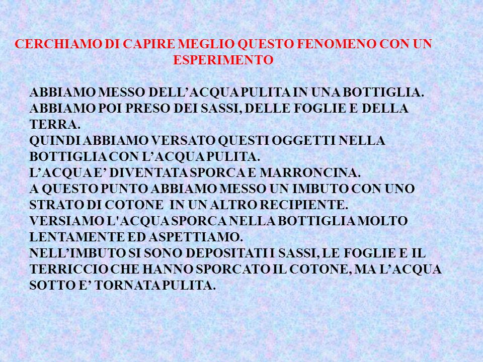 CERCHIAMO DI CAPIRE MEGLIO QUESTO FENOMENO CON UN ESPERIMENTO ABBIAMO MESSO DELLACQUA PULITA IN UNA BOTTIGLIA. ABBIAMO POI PRESO DEI SASSI, DELLE FOGL
