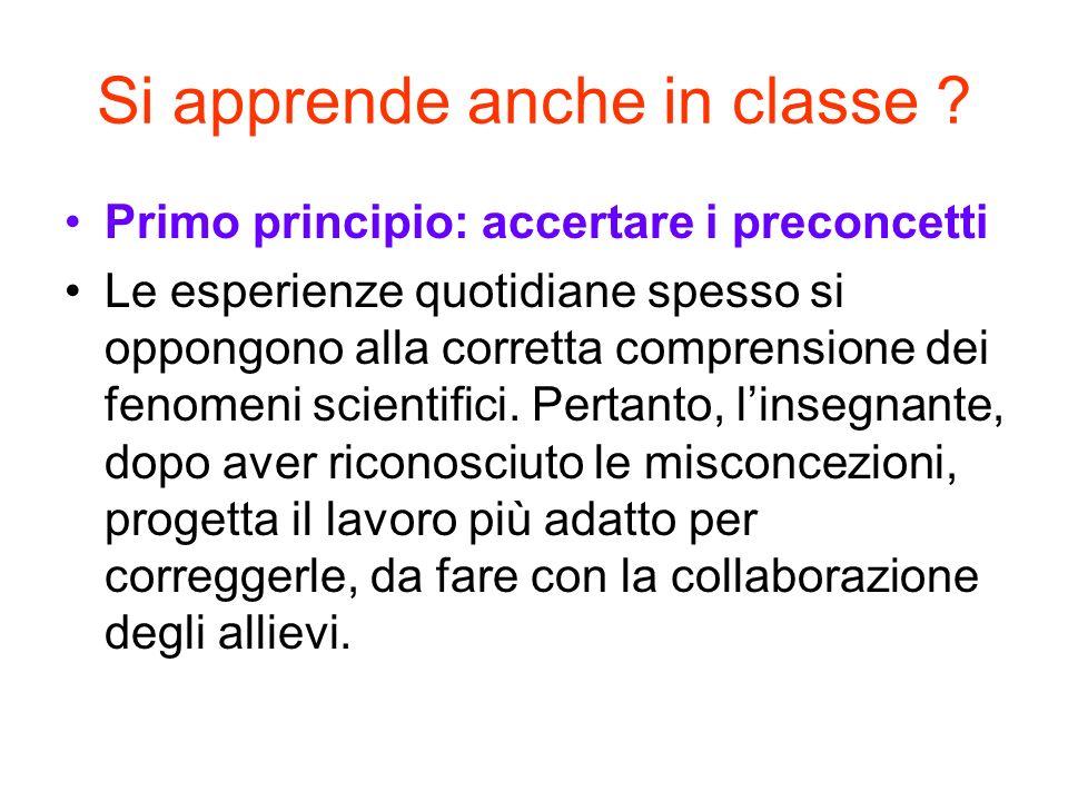 Si apprende anche in classe ? Primo principio: accertare i preconcetti Le esperienze quotidiane spesso si oppongono alla corretta comprensione dei fen