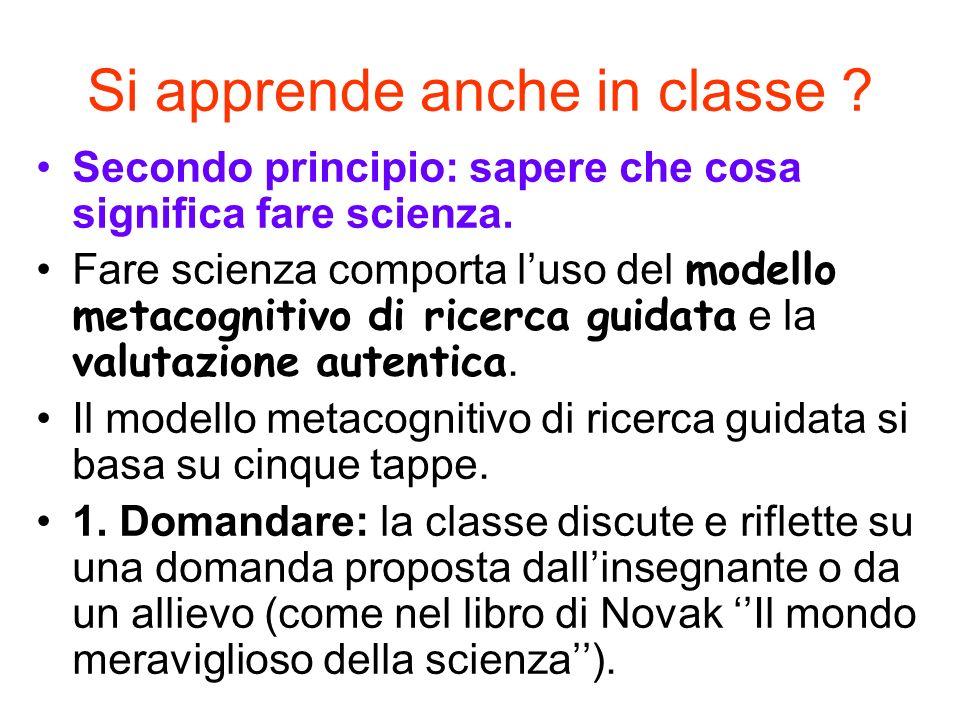 Si apprende anche in classe ? Secondo principio: sapere che cosa significa fare scienza. Fare scienza comporta luso del modello metacognitivo di ricer