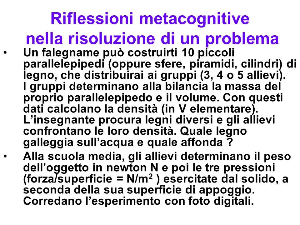 Riflessioni metacognitive nella risoluzione di un problema Un falegname può costruirti 10 piccoli parallelepipedi (oppure sfere, piramidi, cilindri) d