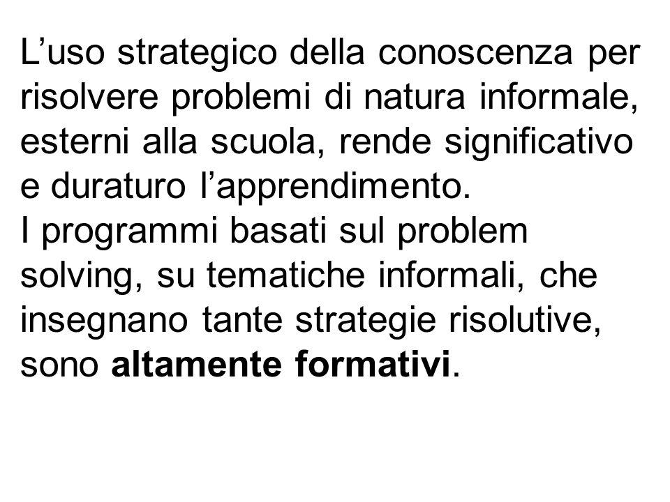Luso strategico della conoscenza per risolvere problemi di natura informale, esterni alla scuola, rende significativo e duraturo lapprendimento. I pro