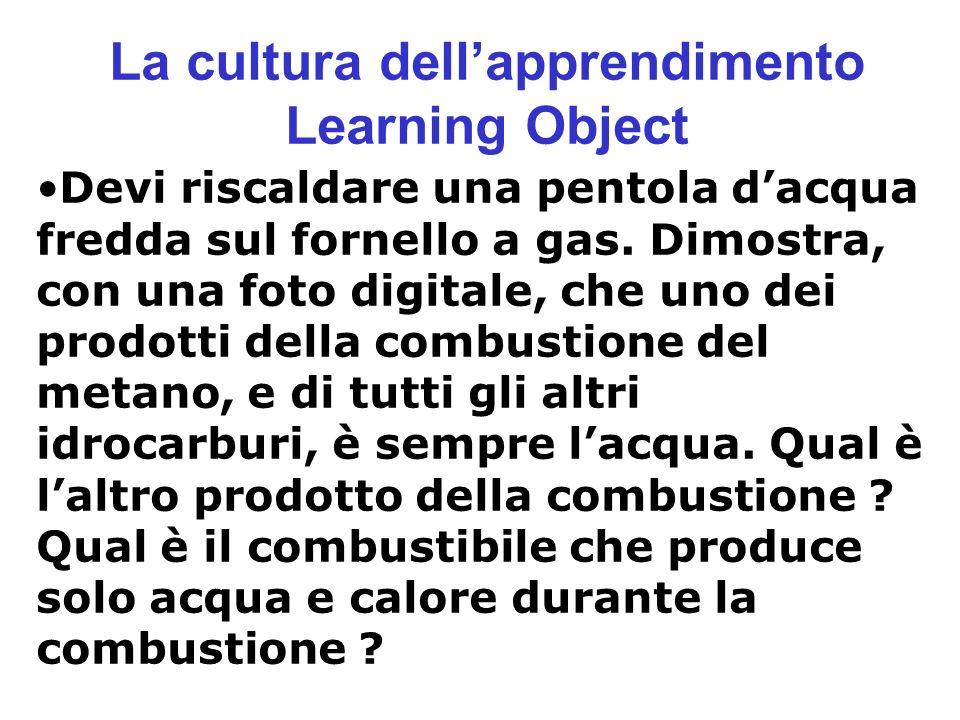 La cultura dellapprendimento Learning Object Devi riscaldare una pentola dacqua fredda sul fornello a gas. Dimostra, con una foto digitale, che uno de