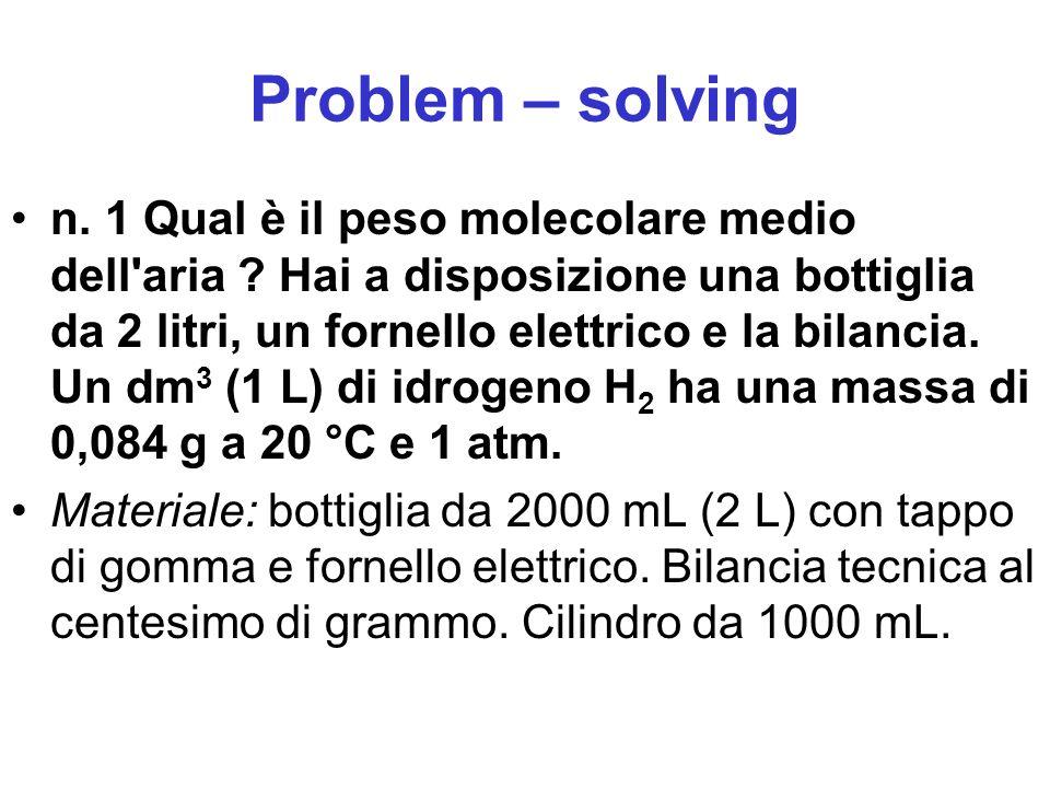 Problem – solving n. 1 Qual è il peso molecolare medio dell'aria ? Hai a disposizione una bottiglia da 2 litri, un fornello elettrico e la bilancia. U