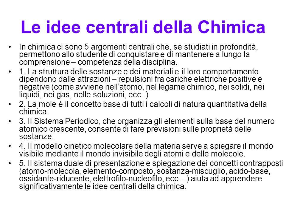 Le idee centrali della Chimica In chimica ci sono 5 argomenti centrali che, se studiati in profondità, permettono allo studente di conquistare e di ma