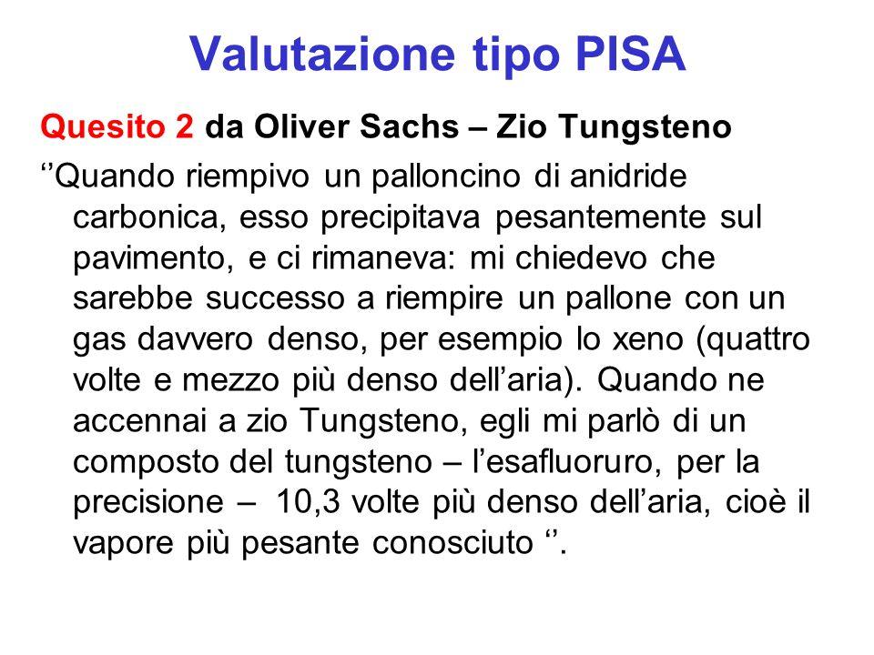 Valutazione tipo PISA Quesito 2 da Oliver Sachs – Zio Tungsteno Quando riempivo un palloncino di anidride carbonica, esso precipitava pesantemente sul