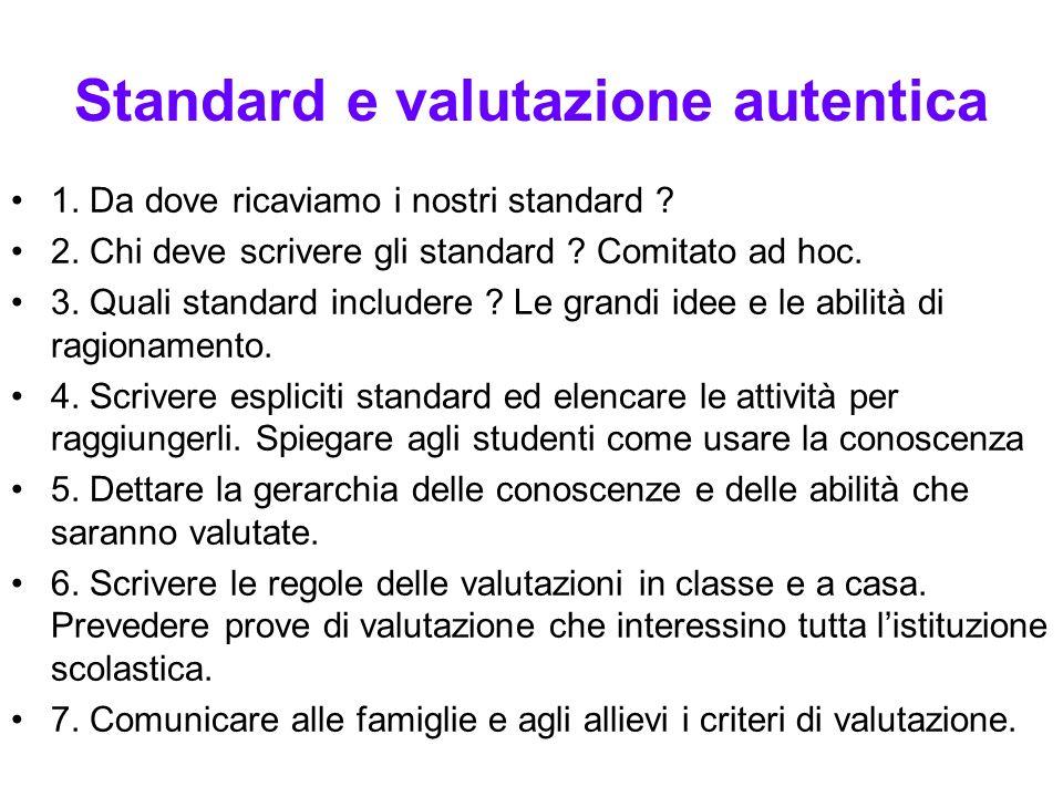 Standard e valutazione autentica 1. Da dove ricaviamo i nostri standard ? 2. Chi deve scrivere gli standard ? Comitato ad hoc. 3. Quali standard inclu