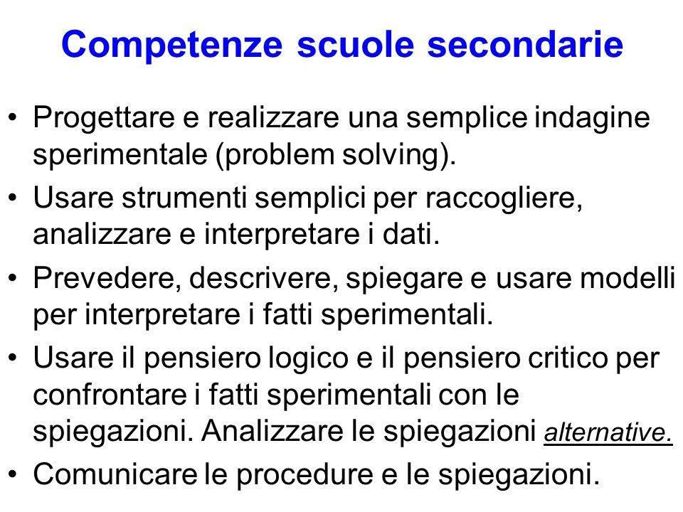 Competenze scuole secondarie Progettare e realizzare una semplice indagine sperimentale (problem solving). Usare strumenti semplici per raccogliere, a