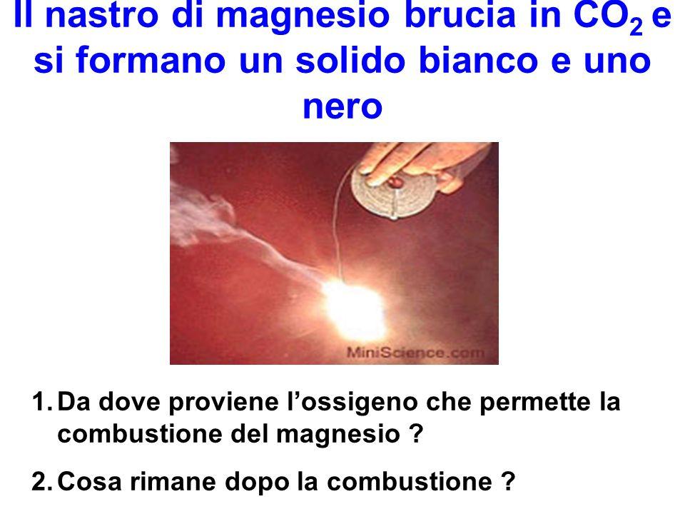 Il nastro di magnesio brucia in CO 2 e si formano un solido bianco e uno nero 1.Da dove proviene lossigeno che permette la combustione del magnesio ?
