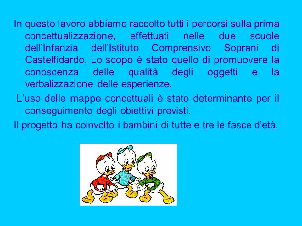 In questo lavoro abbiamo raccolto tutti i percorsi sulla prima concettualizzazione, effettuati nelle due scuole dellInfanzia dellIstituto Comprensivo