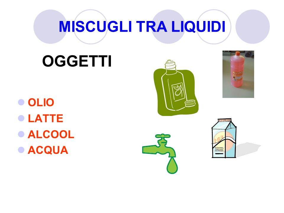 MISCUGLI TRA LIQUIDI OGGETTI OLIO LATTE ALCOOL ACQUA