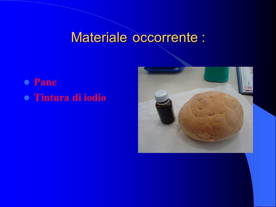 Materiale occorrente : Pane Tintura di iodio