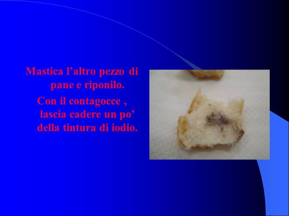 Mastica laltro pezzo di pane e riponilo. Con il contagocce, lascia cadere un po della tintura di iodio.
