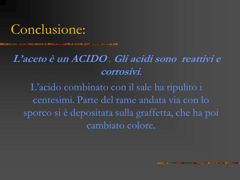 Conclusione: Laceto è un ACIDO.Gli acidi sono reattivi e corrosivi.