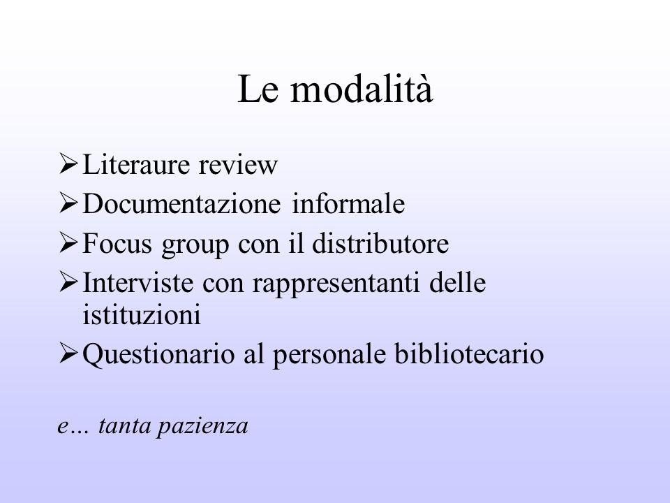 Le modalità Literaure review Documentazione informale Focus group con il distributore Interviste con rappresentanti delle istituzioni Questionario al personale bibliotecario e… tanta pazienza