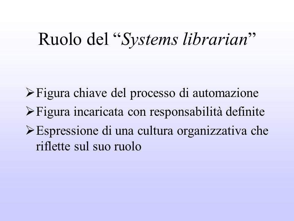 Ruolo del Systems librarian Figura chiave del processo di automazione Figura incaricata con responsabilità definite Espressione di una cultura organizzativa che riflette sul suo ruolo