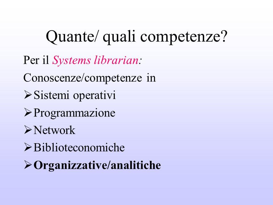 Quante/ quali competenze? Per il Systems librarian: Conoscenze/competenze in Sistemi operativi Programmazione Network Biblioteconomiche Organizzative/