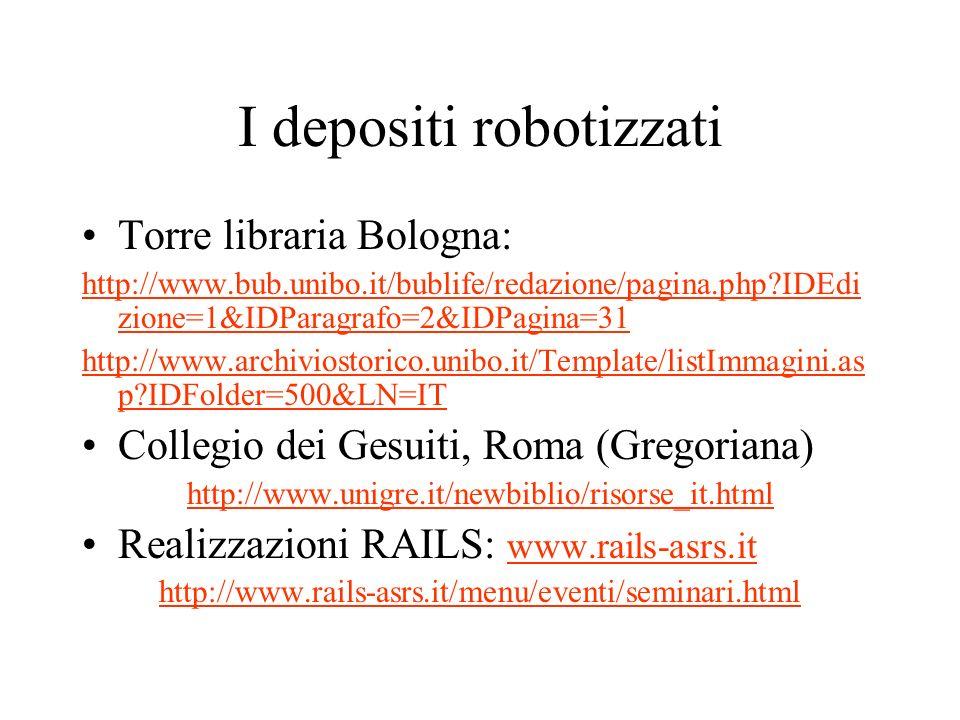 I depositi robotizzati Torre libraria Bologna: http://www.bub.unibo.it/bublife/redazione/pagina.php IDEdi zione=1&IDParagrafo=2&IDPagina=31 http://www.archiviostorico.unibo.it/Template/listImmagini.as p IDFolder=500&LN=IT Collegio dei Gesuiti, Roma (Gregoriana) http://www.unigre.it/newbiblio/risorse_it.html Realizzazioni RAILS: www.rails-asrs.it www.rails-asrs.it http://www.rails-asrs.it/menu/eventi/seminari.html