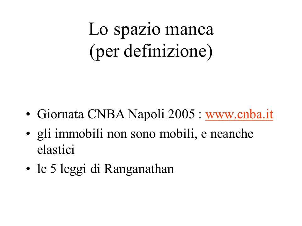 Lo spazio manca (per definizione) Giornata CNBA Napoli 2005 : www.cnba.itwww.cnba.it gli immobili non sono mobili, e neanche elastici le 5 leggi di Ranganathan