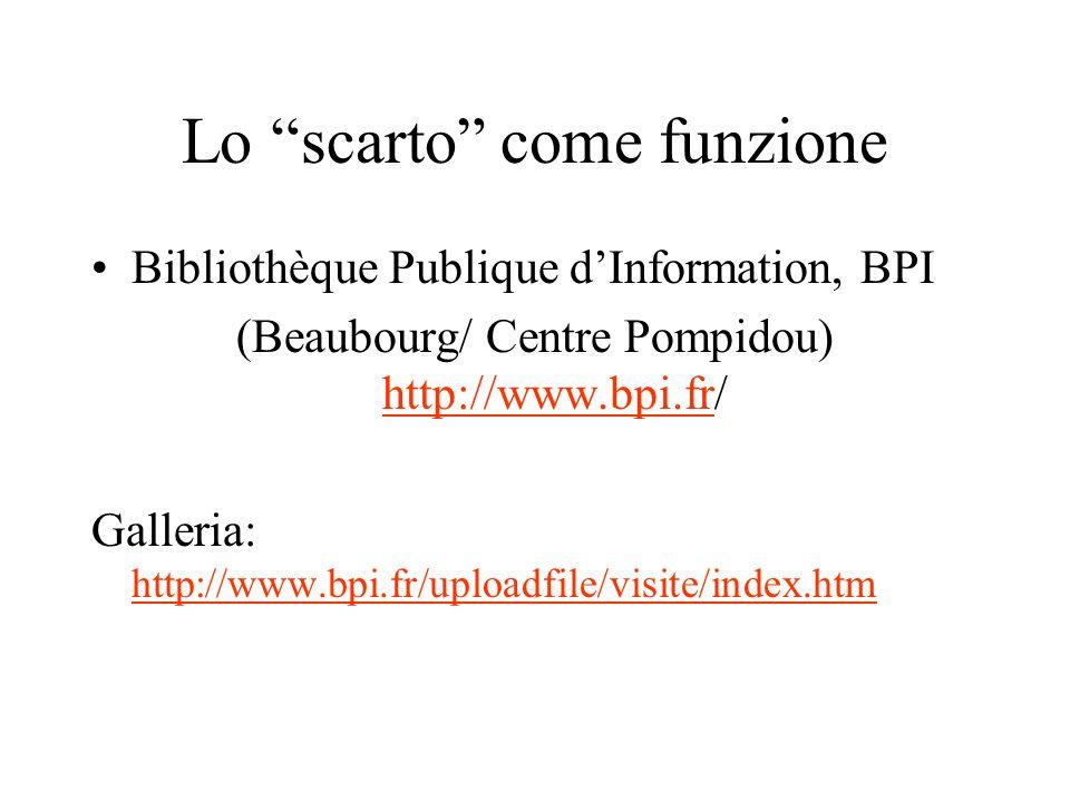 Lo scarto come funzione Bibliothèque Publique dInformation, BPI (Beaubourg/ Centre Pompidou) http://www.bpi.fr/ http://www.bpi.fr Galleria: http://www.bpi.fr/uploadfile/visite/index.htm http://www.bpi.fr/uploadfile/visite/index.htm