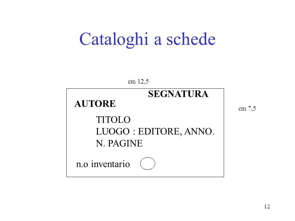12 Cataloghi a schede cm 7,5 cm 12,5 AUTORE SEGNATURA TITOLO LUOGO : EDITORE, ANNO. N. PAGINE n.o inventario