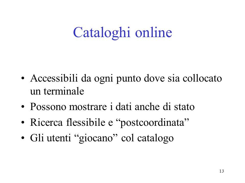 13 Cataloghi online Accessibili da ogni punto dove sia collocato un terminale Possono mostrare i dati anche di stato Ricerca flessibile e postcoordina