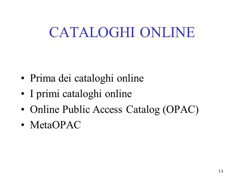 14 CATALOGHI ONLINE Prima dei cataloghi online I primi cataloghi online Online Public Access Catalog (OPAC) MetaOPAC