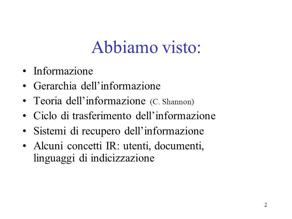 2 Abbiamo visto: Informazione Gerarchia dellinformazione Teoria dellinformazione (C. Shannon) Ciclo di trasferimento dellinformazione Sistemi di recup