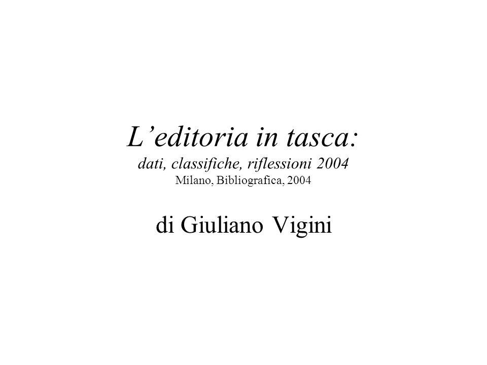 Leditoria in tasca: dati, classifiche, riflessioni 2004 Milano, Bibliografica, 2004 di Giuliano Vigini