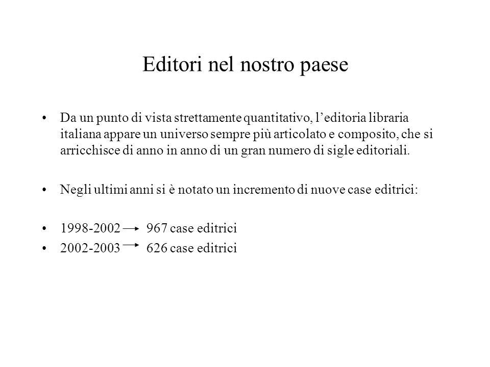 Editori nel nostro paese Da un punto di vista strettamente quantitativo, leditoria libraria italiana appare un universo sempre più articolato e composito, che si arricchisce di anno in anno di un gran numero di sigle editoriali.