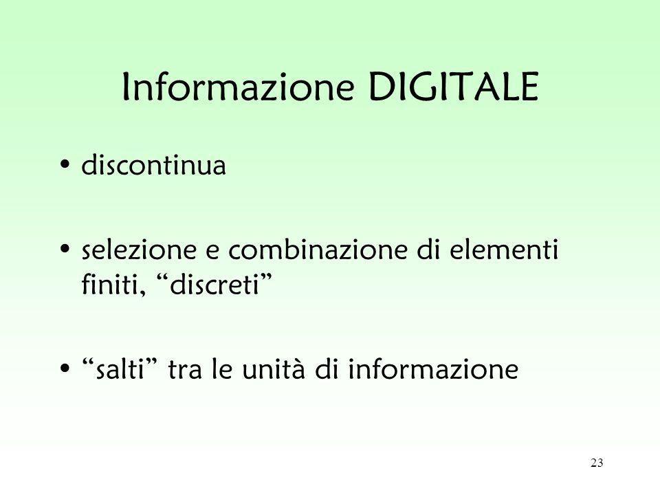 23 Informazione DIGITALE discontinua selezione e combinazione di elementi finiti, discreti salti tra le unità di informazione