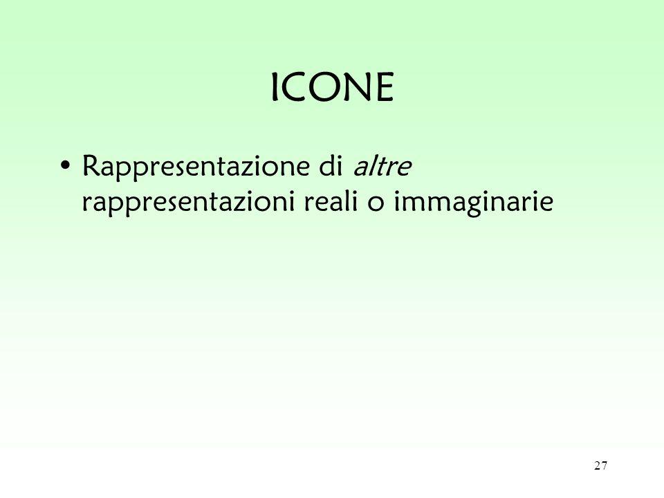 27 ICONE Rappresentazione di altre rappresentazioni reali o immaginarie