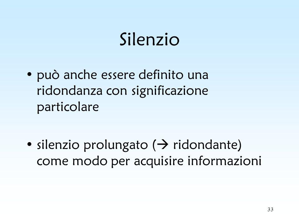 33 Silenzio può anche essere definito una ridondanza con significazione particolare silenzio prolungato ( ridondante) come modo per acquisire informaz
