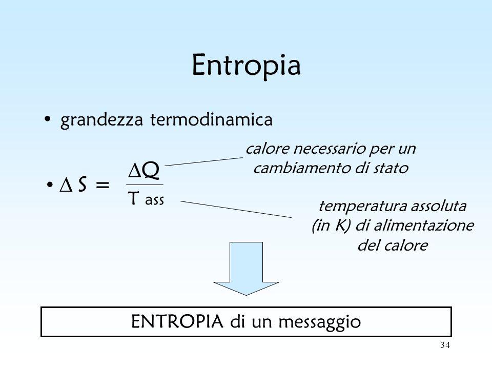 34 Entropia grandezza termodinamica ENTROPIA di un messaggio Q T ass calore necessario per un cambiamento di stato S = temperatura assoluta (in K) di