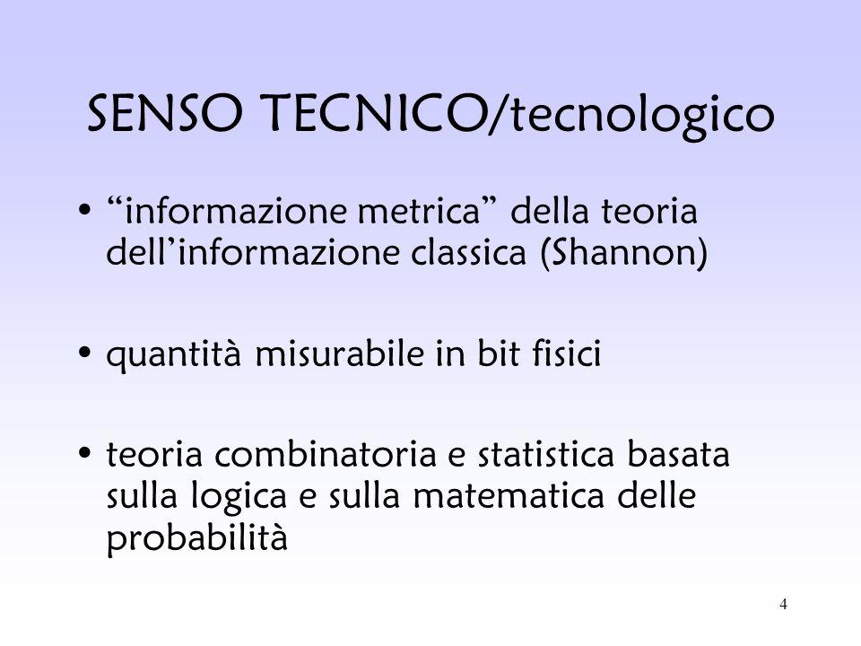 4 SENSO TECNICO/tecnologico informazione metrica della teoria dellinformazione classica (Shannon) quantità misurabile in bit fisici teoria combinatori