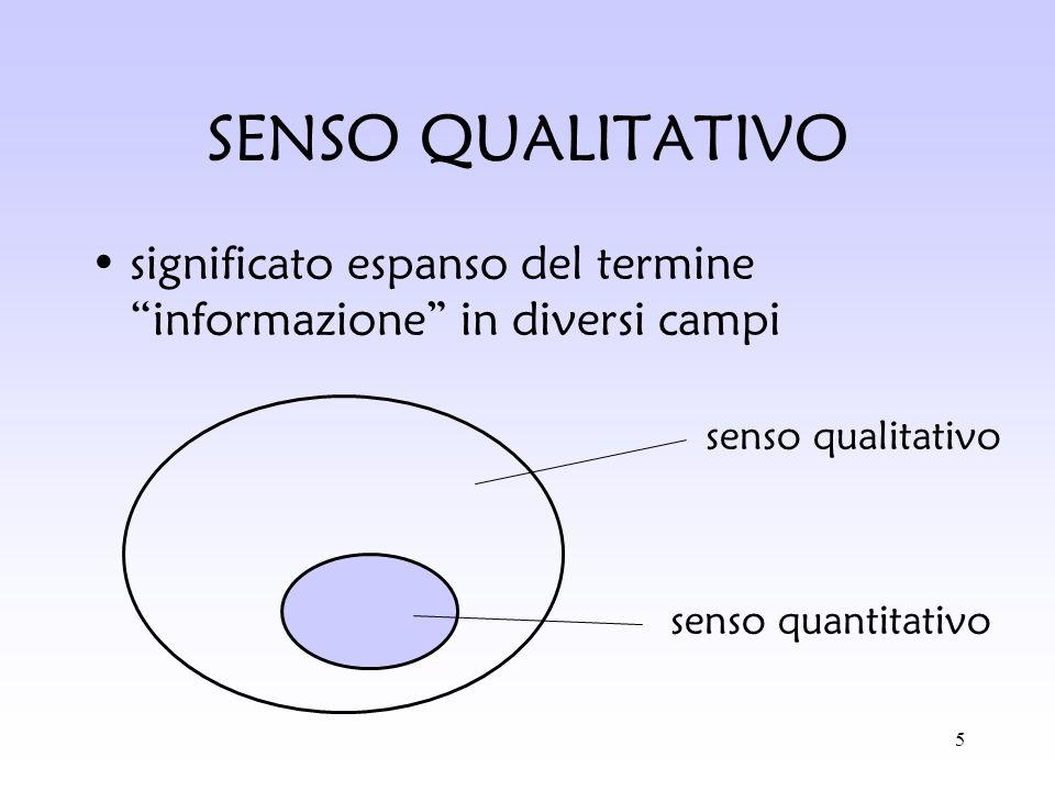5 SENSO QUALITATIVO significato espanso del termine informazione in diversi campi senso qualitativo senso quantitativo