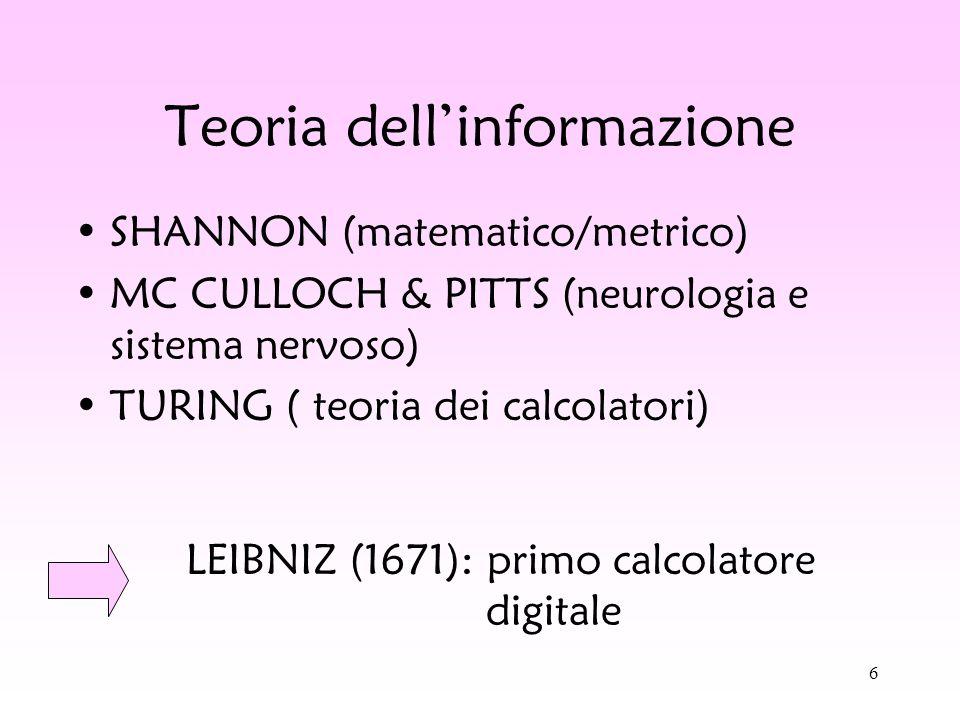 6 Teoria dellinformazione SHANNON (matematico/metrico) MC CULLOCH & PITTS (neurologia e sistema nervoso) TURING ( teoria dei calcolatori) LEIBNIZ (167