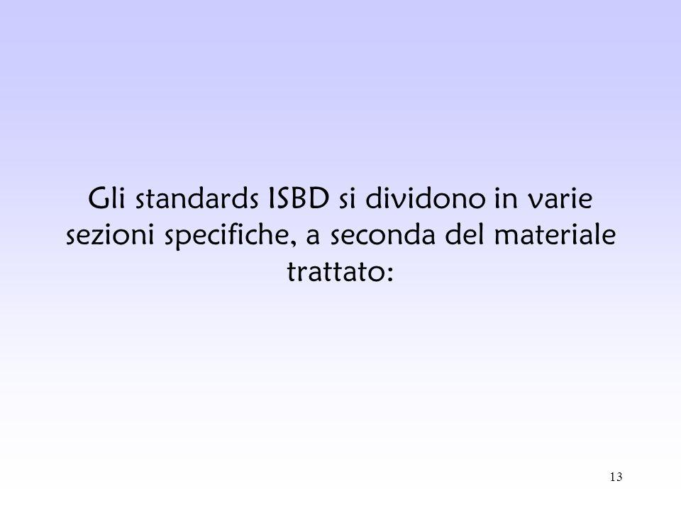 13 Gli standards ISBD si dividono in varie sezioni specifiche, a seconda del materiale trattato: