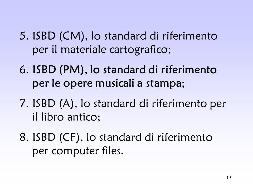 15 5. ISBD (CM), lo standard di riferimento per il materiale cartografico; 6. ISBD (PM), lo standard di riferimento per le opere musicali a stampa; 7.