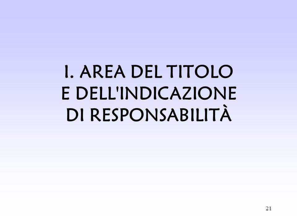 21 I. AREA DEL TITOLO E DELL'INDICAZIONE DI RESPONSABILITÀ