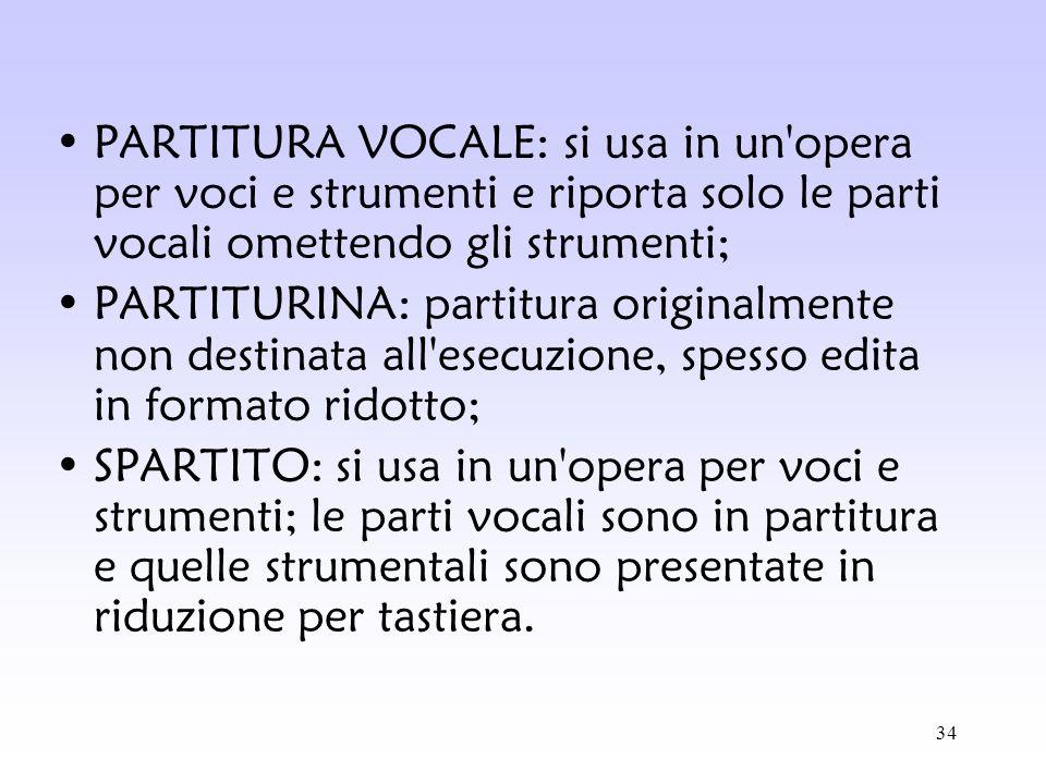 34 PARTITURA VOCALE: si usa in un'opera per voci e strumenti e riporta solo le parti vocali omettendo gli strumenti; PARTITURINA: partitura originalme