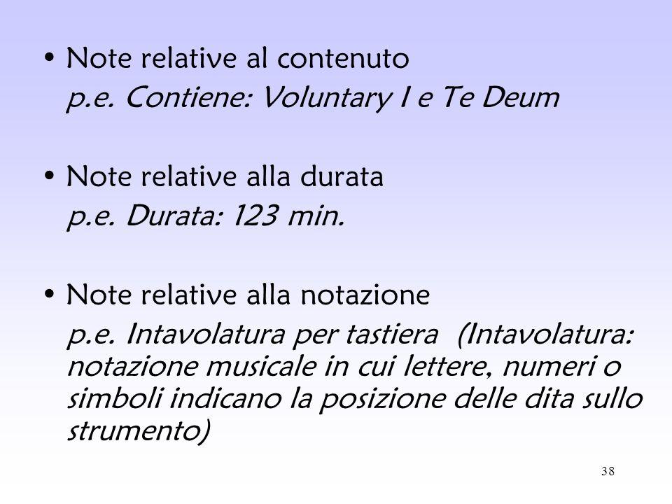 38 Note relative al contenuto p.e. Contiene: Voluntary I e Te Deum Note relative alla durata p.e. Durata: 123 min. Note relative alla notazione p.e. I