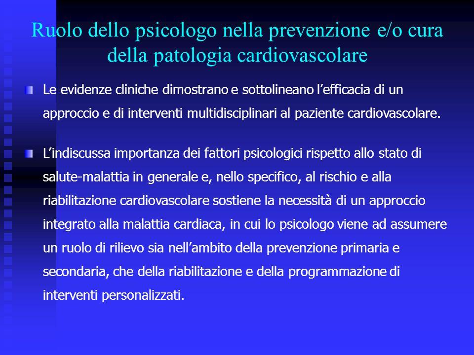 Le evidenze cliniche dimostrano e sottolineano lefficacia di un approccio e di interventi multidisciplinari al paziente cardiovascolare.