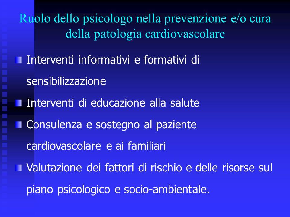 Interventi informativi e formativi di sensibilizzazione Interventi di educazione alla salute Consulenza e sostegno al paziente cardiovascolare e ai fa